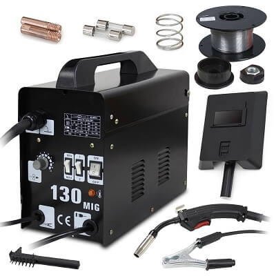 Super Deal Black Commercial MIG 130 AC Flux Core Wire Automatic Feed Welder Welding Machine w Free Mask 110V